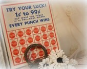 SALE 10 vintage name game punch cards . try your luck . every punch wins . girls names punch cards lottery gambling