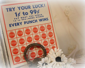 10 vintage name game punch cards . try your luck . every punch wins . girls names punch cards lottery gambling