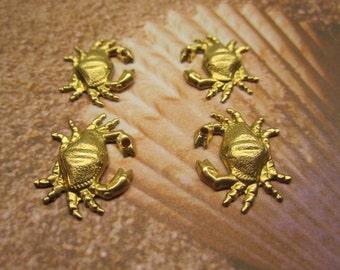 Crab Zodiac, Nautical Charms, Tropical Brass Beach Findngs x 4