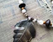 Necklace and bracelet set wood & stone leaf pendant