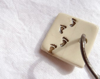 Ceramic Pendant with Footprints