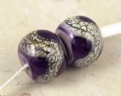 Purple Handmade Lampwork Glass Bead Pair 14x11mm Violet