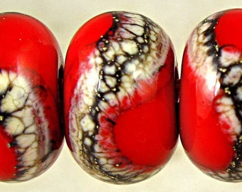 Red  Handmade Lampwork Glass Bead Set of 6 with Cream and Black Web 11x7mm Pimento