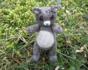 Needle Felted Poseable Bear Gray Miniature