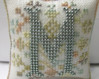 Completed Cross Stitch Beaded Initial M Ornament