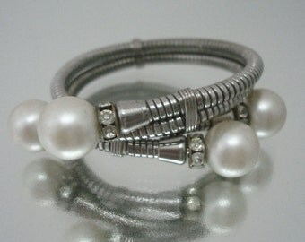 Wrap Around Bracelet Rhinestone Faux Pearl Unique Vintage