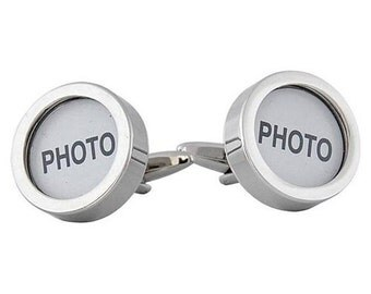 DIY Customizable Cufflinks for Photo or other Flat Object  Silver 20mm Round