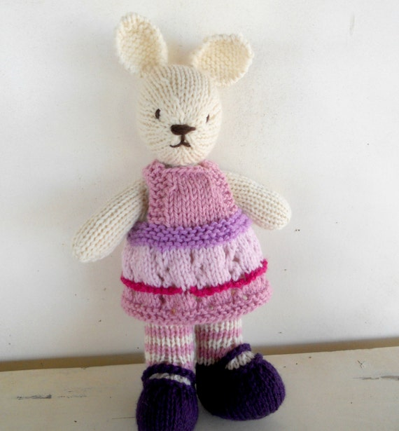 Eco Friendly Kids Toy, Natural Stuffed Animal Toy, Bunny Rabbit, Waldorf Toy,  handKnit by Woolies - Ready to Ship