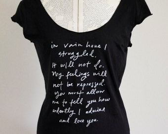 SALE - size MEDIUM - Mr. Darcy Proposal black with white ink scoop neck t shirt - Original Jane Austen