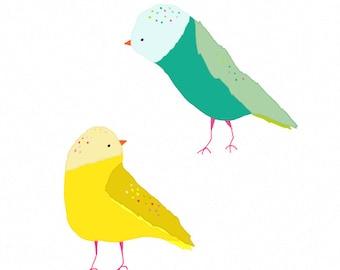 Illustration Birds Print - birds poster, kitchen artwork - I SUPER LIKE YOU