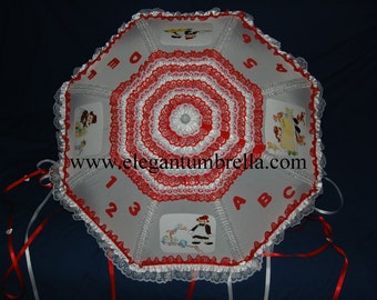 """34"""" Rag Doll Red And White Lace Baby Shower Umbrella"""