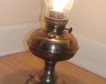Antique Rustic Brass Rayo Electrified Oil Lamp with Glass Chimney