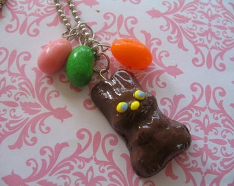 Chocolate Easter Bunny Necklace with Jelly Bean Charms