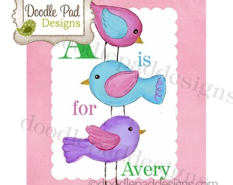 Stacked Birds Personalized Wall Art Print - 8X10 or 11X14