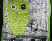 Cool NIght Silver Moon OOAK Art Quilt Textile Wall Hanging Original Green Black White Silver