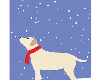 yellow lab in snow greeting cards