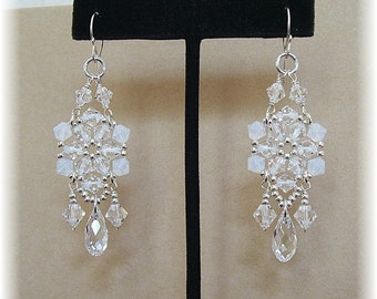 White Opal Mix Crystal Chandelier Earrings, Chandelier Earrings, Bridal Party Earrings, Formal Earrings, Long Earrings