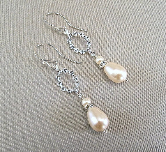 Cream Pearls, Dainty Rhinestone Pearl Earrings, Wedding Day Rhinestone and Ivory Pearl Drop Earrings, Dainty Chandelier Rhinestone Earrings