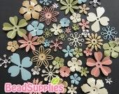 FG-FG-090S- Nickel free, Color enameled, Sampler set of flower filigree, spring mix, 48 pcs