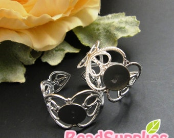 FN-RB-01056 - Nickel Free, silver plated  Art Nouveau Heart Filigree for ring base,  12 pcs