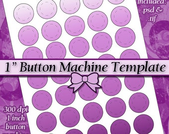 1 Inch Button Machine TEMPLATE DIY DIGITAL Collage Sheet 8.5x11 Page with Video Tutorial Instructions (Instant Download)