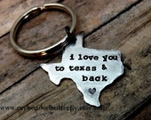 Texas-keychain- texas keychain-ornament-handstamped-personalized-i love you to texas and back- texas key chain