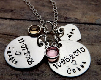 personalized necklace-mommy necklace-handstamped-birthdate two disc-children