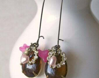 Vintage Dangle Charm Earrings - Celadine in Brown