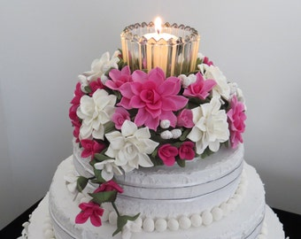 Pink and White Cold Porcelain Cake Topper
