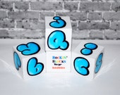 ABC Baby Blocks Blue Bubble Letter Graffiti Rockin' Blocks Alphabet Blocks by beebles