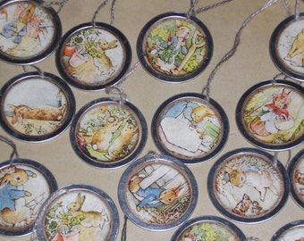 Set of 10 - Assorted Primitive Beatrix Potter Easter Bunny Rabbit Metal Rimmed Hang Tags - Tie Ons - Gift Tag - Scrapbooking - Ornies