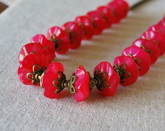 Carved Jade Necklace in Bright Fuchsia with Elegant Bronze Findings and Chain