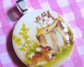Bunny and Squirrel Mini Pendant