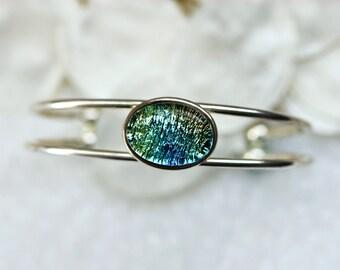 Bangle Bracelet in Green Blue Dichroic Fused Glass BL0020, GetGlassy