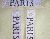 Paris Glitter Flag - Label - Gift Tags by Bluebird Lane - Set of 30