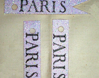 Paris Glitter Flag - Label - Gift Tags by Bluebird Lane - Set of 15