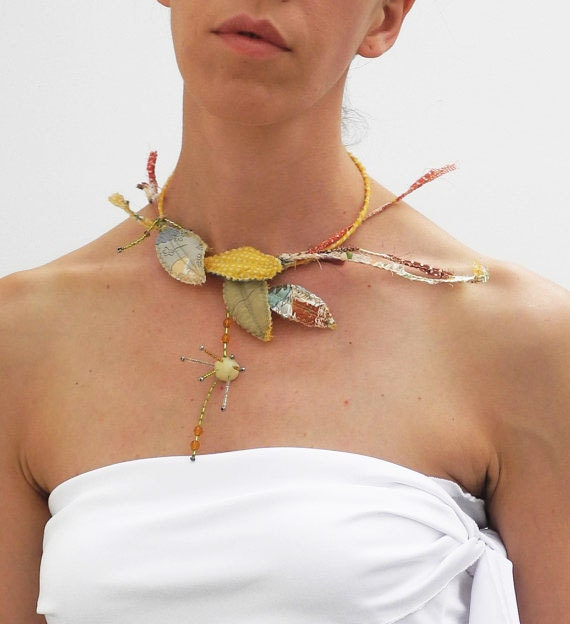 fairy vintage chocker, upcycled silk necklace, green and yellow leaves