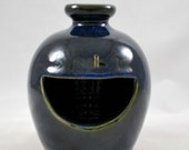Cobalt Blue French Salt Pig or Cellar Stoneware Clay Pottery