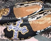 Cheetah Hearts and Zebra Cross Hand Painted shoes TOMS included