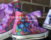 Hand Painted Butterflies Paisleys and Flowers on Chuck Taylor Converse High Tops for toddler girls