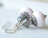 Lullaby Earrings Vintage pink glass with sterling silver