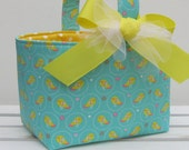 Easter Fabric Basket Storage Container Bin Egg Hunt - Yellow Birds on Green/Blue - PERSONALIZED/ Name Tag Available - See Note in Listing