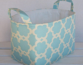 Fabric Basket Organizer Storage Container Bin Basket -  Tarika in Blue Fabric Dena Designs