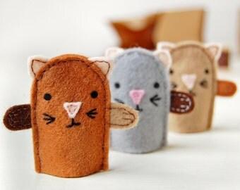 Kitten Finger Puppets Kit - Make Your Own - Children's Sewing Kit - Creative Activity Kit - Cat Finger Puppet Toy - Cat Lover