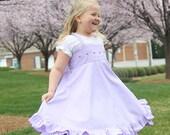 Lilac Easter dress, flower girl dress, birthday dress, formal twirl dress, embroidered dress, ruffled dress, tea party dress, tween girl