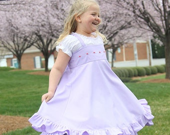 Lilac Easter dress, flower girl dress, birthday dress, formal twirl dress, embroidered dress, ruffled dress, tea party dress, tween girl