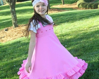 Girls dress pink ruffled dress Flower girl dress Easter birthday tea party twirl Dress Size 12 mths to 12 yrs Aude in Pink