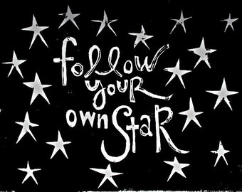 "follow your own star linoleum block print - 9"" x 12"" wall art"