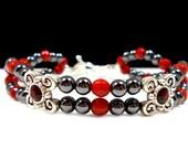 Plus Size Bracelet, Swanky, Hematite and Coral Bracelet, Cuff Bracelet