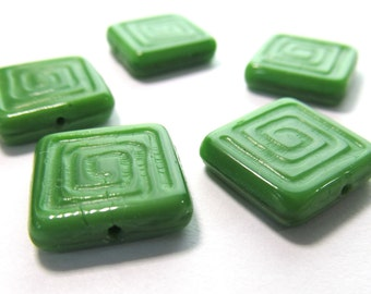 Green Greek Key Design Czech Glass Flat Square Beads, 14mm - 5 pieces